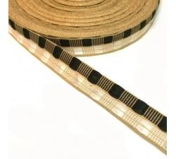 Ruban fin noir et blanc avec fil doré en lurex - 20 mm