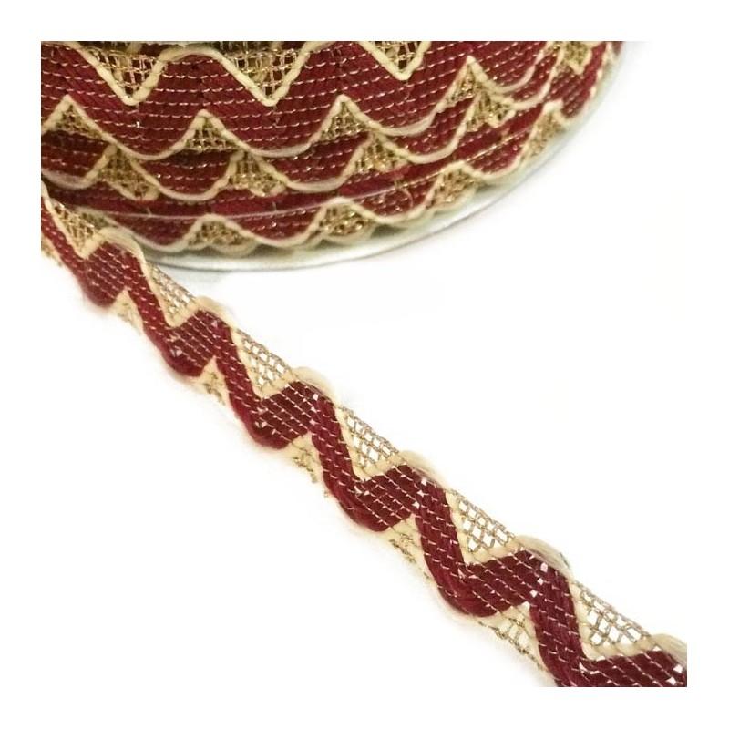 Burundy Rickrack braid style with golden lurex thread - 20 mm