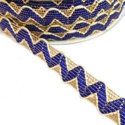 Ric Rac Cinta tipo ricrac Azul con hilo de lurex dorado - 20 mm babachic