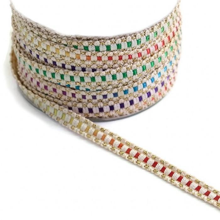 Ethnic braid - Multicolor - 10 mm