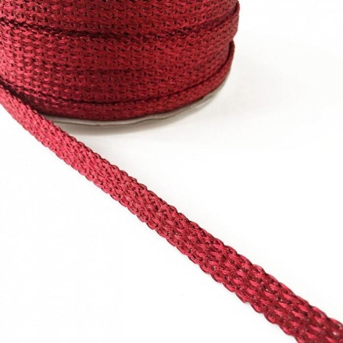 Glazed ribbon - Red - 7 mm