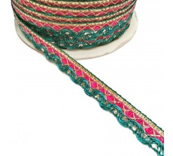 Braid Indian braid - Pink green - 10 mm