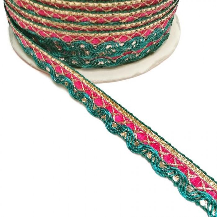 Indian braid - Pink green - 10 mm