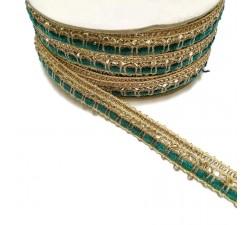Galons Galon Indien - Bleu vert - 10 mm