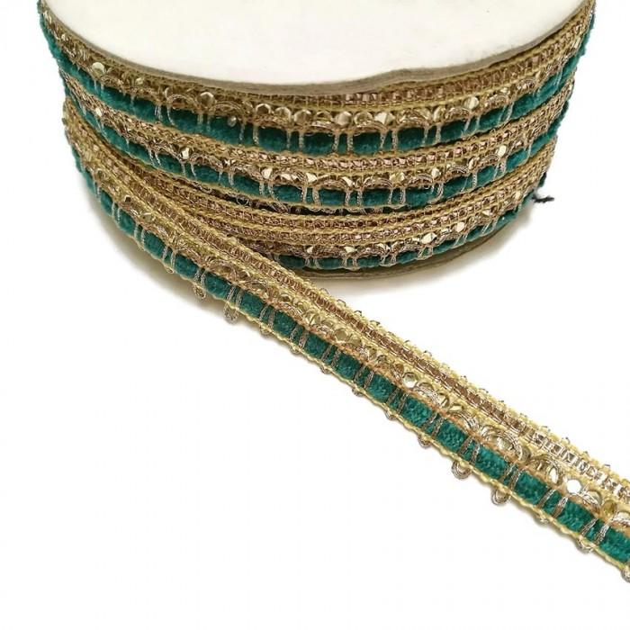 Galon Indien - Bleu vert - 10 mm