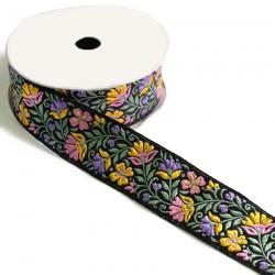 Ribbons Ruban tissé fleuri - Jaune, rose sur fond noir - 35 mm