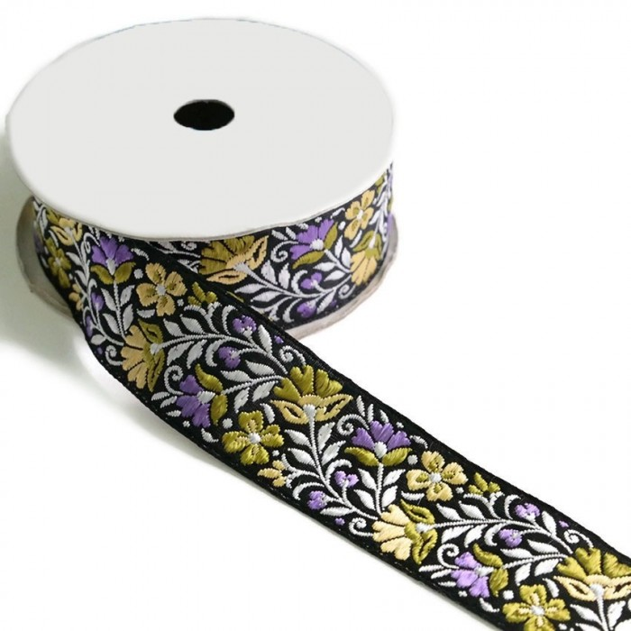 Blossom ribbon - Lilac and green with black background - 35 mm