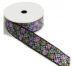 Bordado Cinta Floral - Rosa claro, lila sobre fondo negro - 35 mm