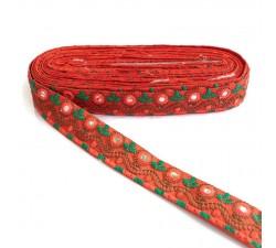 Embroidery Indian border - Orange - 35 mm