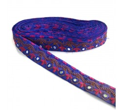 Embroidery Indian border - Blue - 35 mm babachic