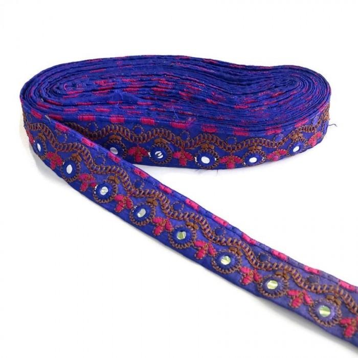 Bordure décorative Indienne - Bleu - 35 mm
