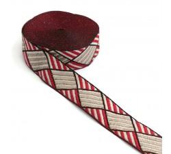 Ruban rouge et blanc - 30 mm