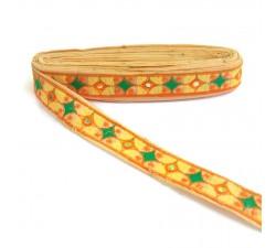 Bordure ethnique Indienne - Jaune - 30 mm