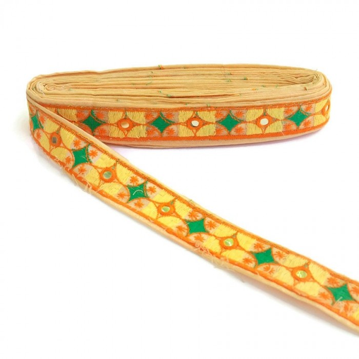 Ethnic Indian border - Yellow - 30 mm