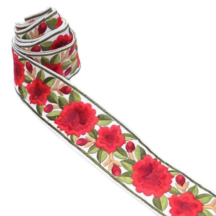 Bordure Fleurie, fil de soie - Rouge - 30 mm
