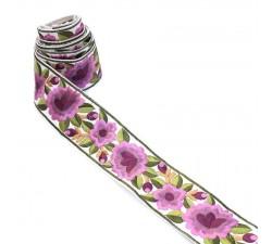 Bordado Bordado Floral de seda - Lila - 55 mm babachic