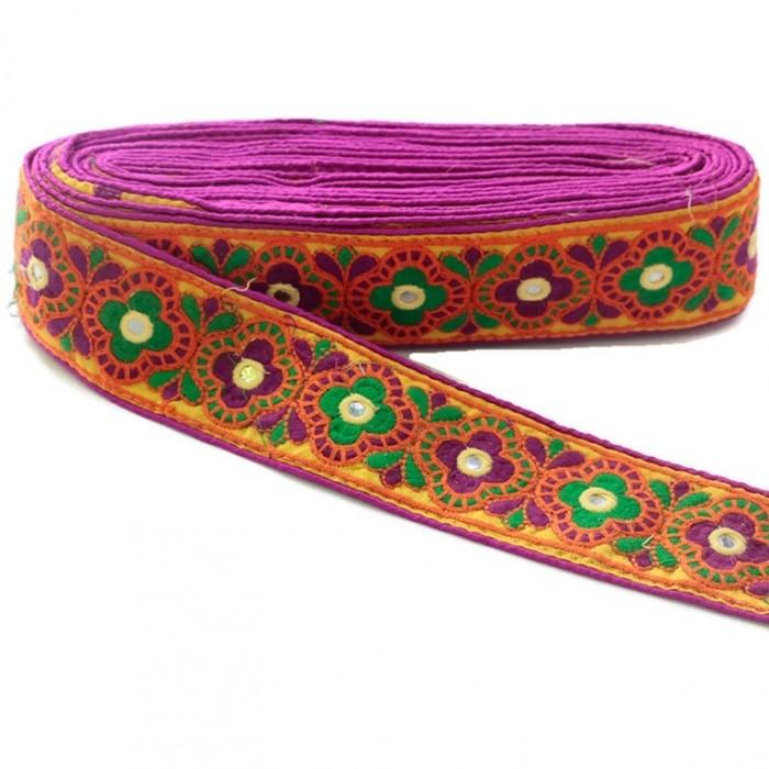 Cinta decorativa India - Magenta, naranja y verde - 60 mm