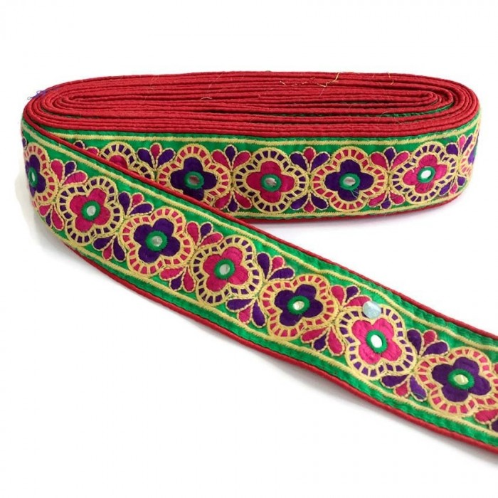 Cinta decorativa India - Rojo, rosa y verde - 60 mm