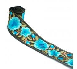 Bordado Bordado Floral de seda - Turquesa - 55 mm babachic