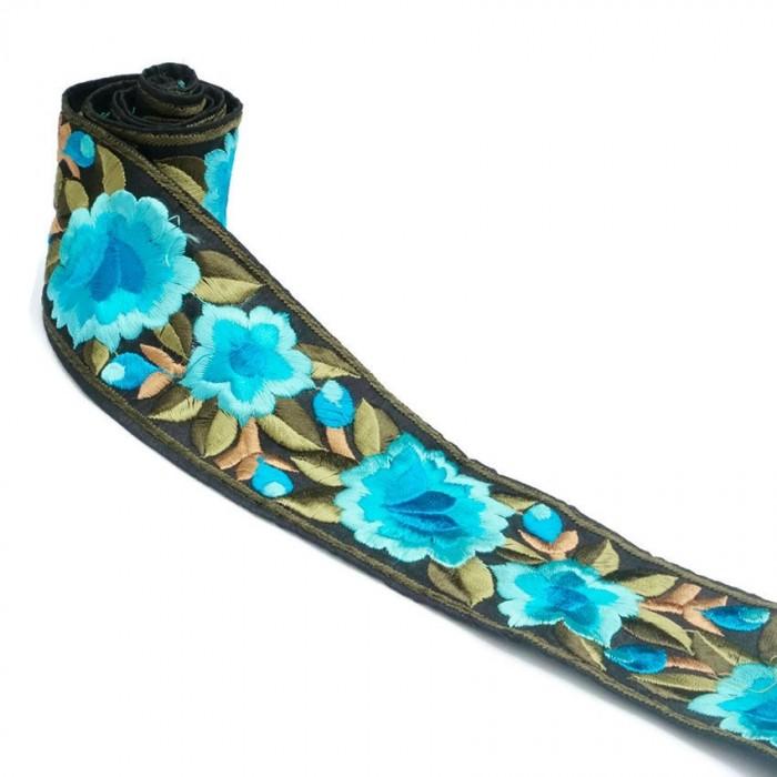 Bordure Fleurie, fil de soie - Turquoise - 55 mm