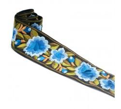Rubaneries Bordure Fleurie, fil de soie - Bleu - 55 mm babachic