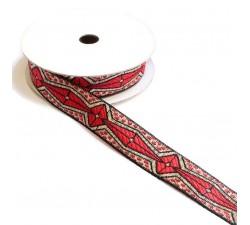 Cintas Ruban Africain - Rouge, noir et argenté - 20 mm