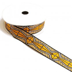 Ribbons Graphic ribbon - Aztec - Yellow, black and silver - 20 mm babachic