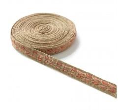 Galónes Galón tejido - Typo antiguo - Rosa y lurex dorado - 20 mm babachic