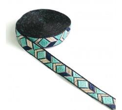 Ribbons Graphic ribbon - Blue lagoon - 20 mm babachic