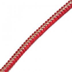Franges Galon de pampilles rouge et doré - 15 mm
