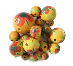 Beads Wooden flower beads - Hibiscus - Yellow and Red