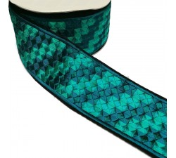 Embroidery Turquoise embroidered ribbon - Pixel - 65 mm babachic