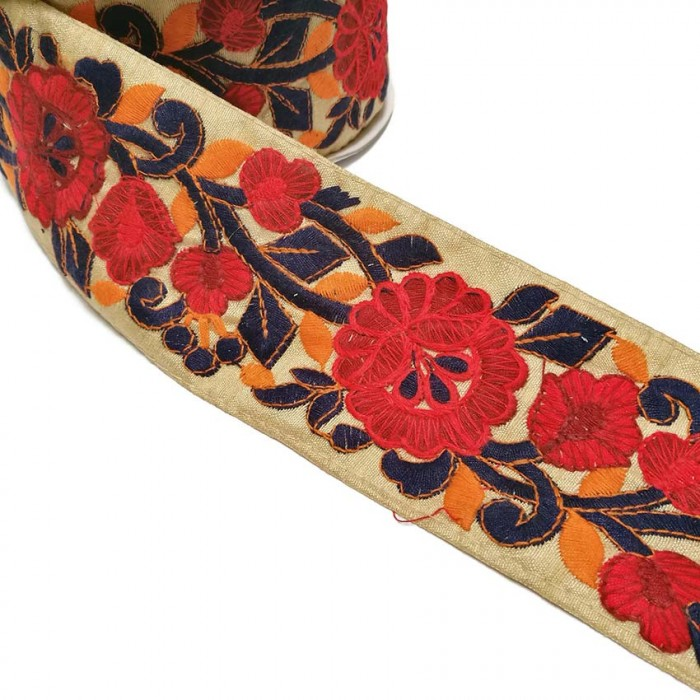Sold By 50 Cms Red Flowers And Navy Blue And Orange Leaves Embroid