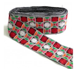 Embroidered ribbon - Red and green - 90 mm