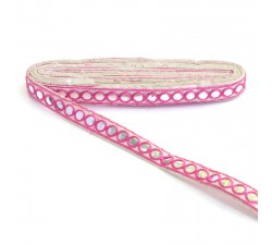 Braid Mirrors braid - Pink and white - 18 mm