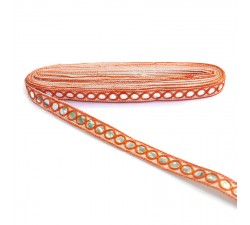 Braid Mirrors braid - Orange and white - 18 mm