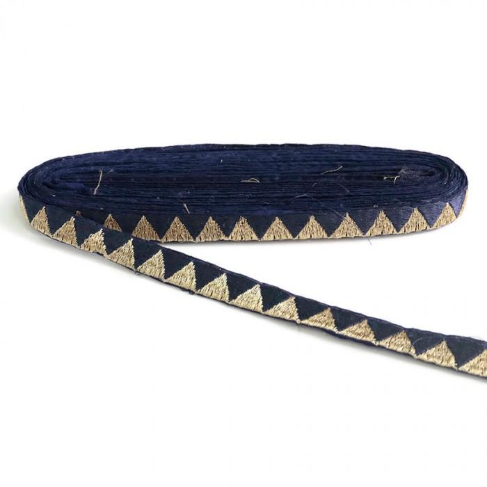 Galon bleu marine et doré - 15 mm