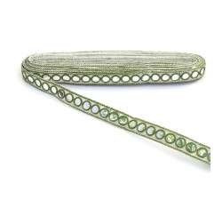 Braid Mirrors braid - Khaki and white - 18 mm
