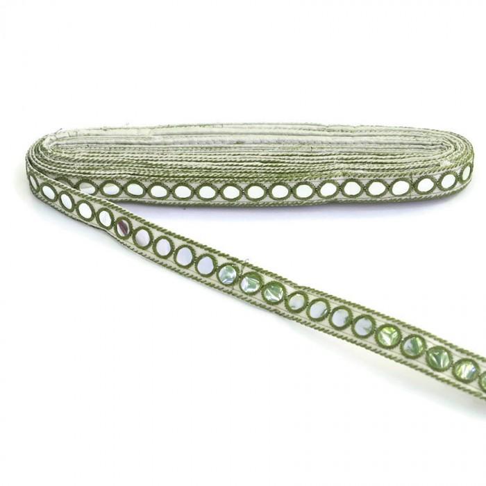 Mirrors braid - Khaki and white - 18 mm