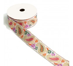 Embroidery Ribbon vintage - Orange, lilac and green - 35 mm