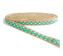 Bordado Pasamaneria bordada con espejos - Azul verde - 25 mm