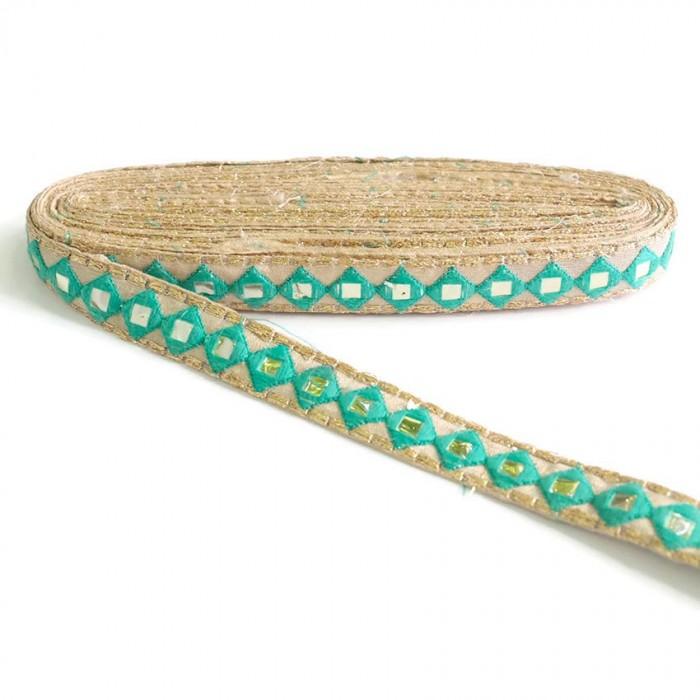 Mirrors braid - Green sea - 25 mm