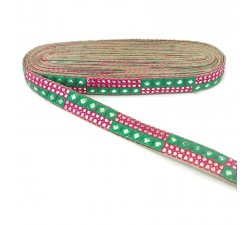Braid Pink and green sequins braid - 25 mm
