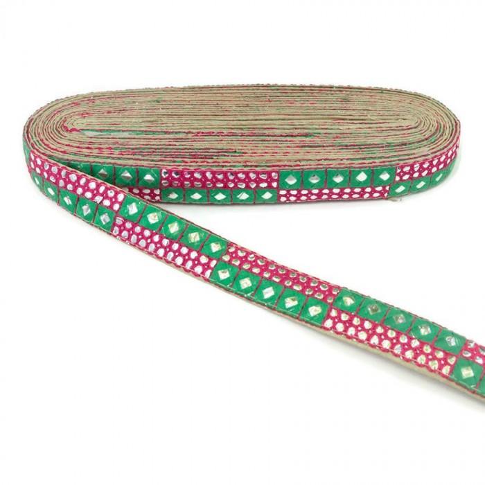 Bordado de lentejuelas verde y rosa - 25 mm
