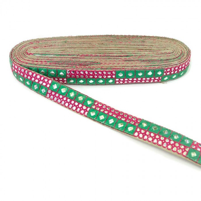 Pink and green sequins braid - 25 mm