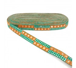 Braid Yellow and green sequins braid - 25 mm