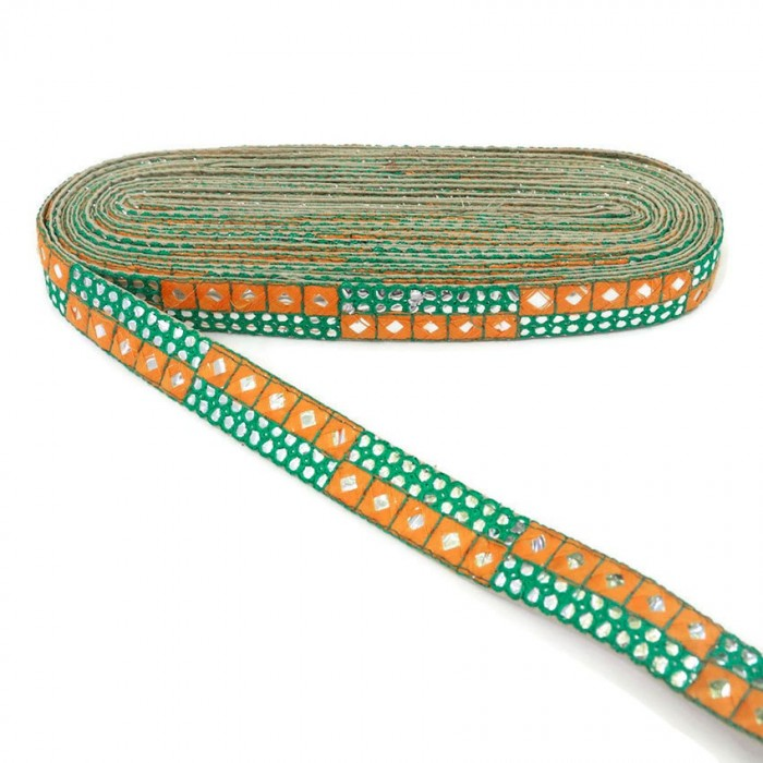 Yellow and green sequins braid - 25 mm
