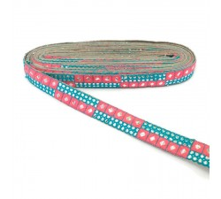 Braid Pink and blue sequins braid - 25 mm