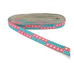 Braid Pink and blue sequins braid - 25 mm