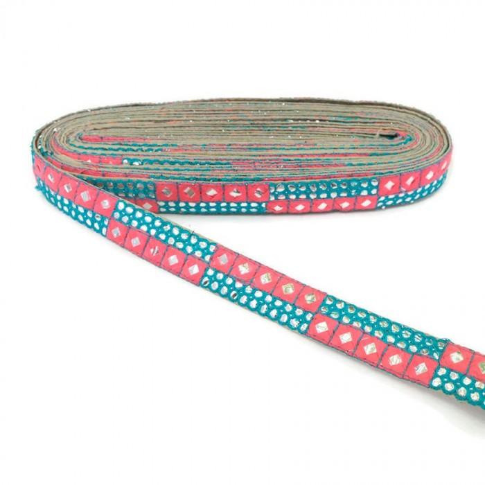 Bordado de lentejuelas azul y rosa - 25 mm